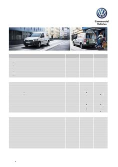 Caddy Van Specifications and Options MY15