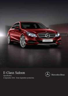 E-Class Saloon Specification 4 September 2014 - from September production