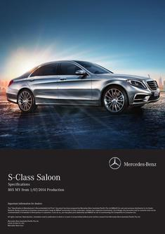 S-Class Saloon Specifications  805 MY from 1/07/2014