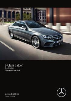 E-Class Saloon Specification Effective 25 July 2018
