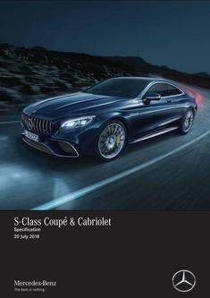 S-Class Coupé & Cabriolet Specification 20 July 2018