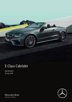 E-Class Cabriolet Specification 25 July 2018