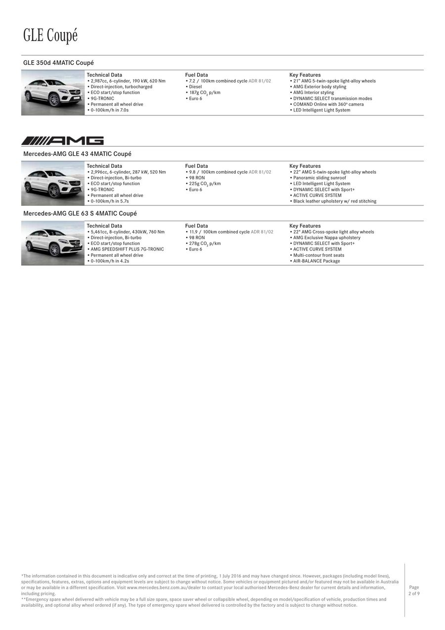 GLE Coupé Specification 1 July 2017 - from 11 July 2017