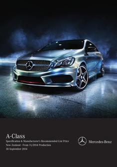 A-Class Specification & List Price New Zealand 11/2014