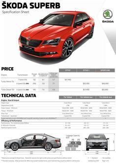 Superb Sedan Specifications and pricing 2017