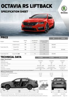 Octavia RS Liftback Specifications and pricing 2017