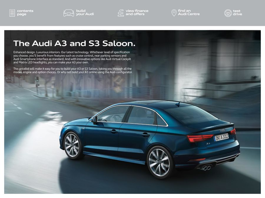 A3 Saloon S3 Saloon Pricelist Edition 21 04 18 By Audi Uk