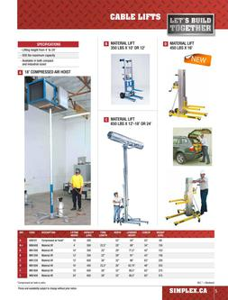 Cable lifts & hoists rental 2015