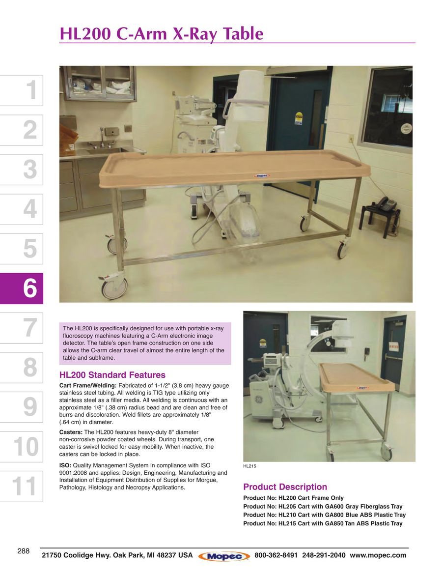 Page 70 of Autopsy Sinks, Tables, Carts 2015