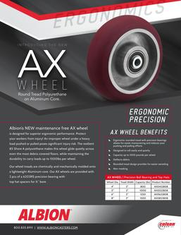 AX Wheel - Ergonomic Crowned Tread Polyurethane-on-Aluminum Wheels and Casters