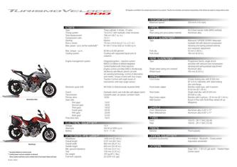 Turismo Veloce 800 Tech Sheet 2015