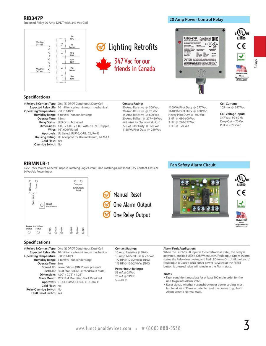 2015 Building Automation By Functional Devices Inc Relay Operating Time