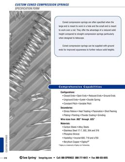 Coned Compression Spring Specification 2015