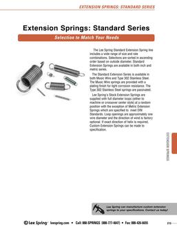 Stock Extension Springs Standard Series Overview 2015