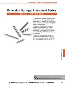 Stock Extension Springs Instrument Series Overview 2015