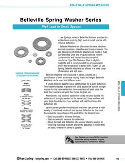 Stock Belleville Spring Washers Standard Series (Inch) 2015