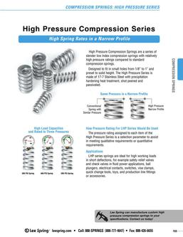 Stock Compression Springs High Pressure Series (Inch) 2015