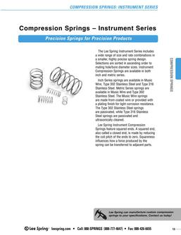 Stock Compression Springs Instrument Series (Inch) 2015