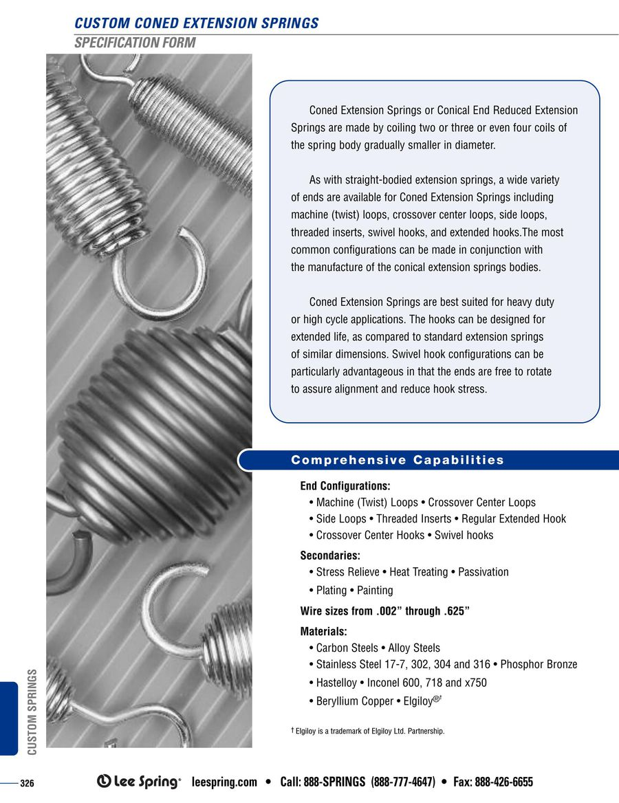 Coned Extension Spring Specification 2015 by Lee Spring