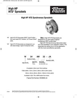 High HP HTS Sprockets 2015