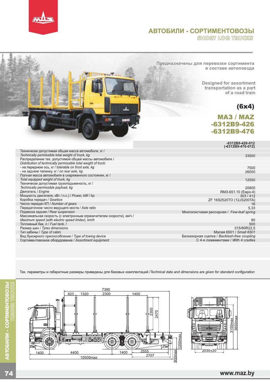 d4765de20070 Timber-trucks MAZ EURO 4-5 2015 by JSC Minsk Automobile Plant