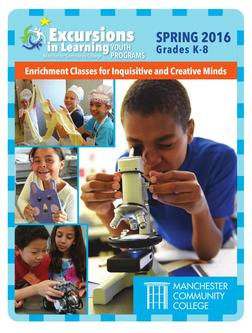 Spring 2016 Excursions in Learning Catalog