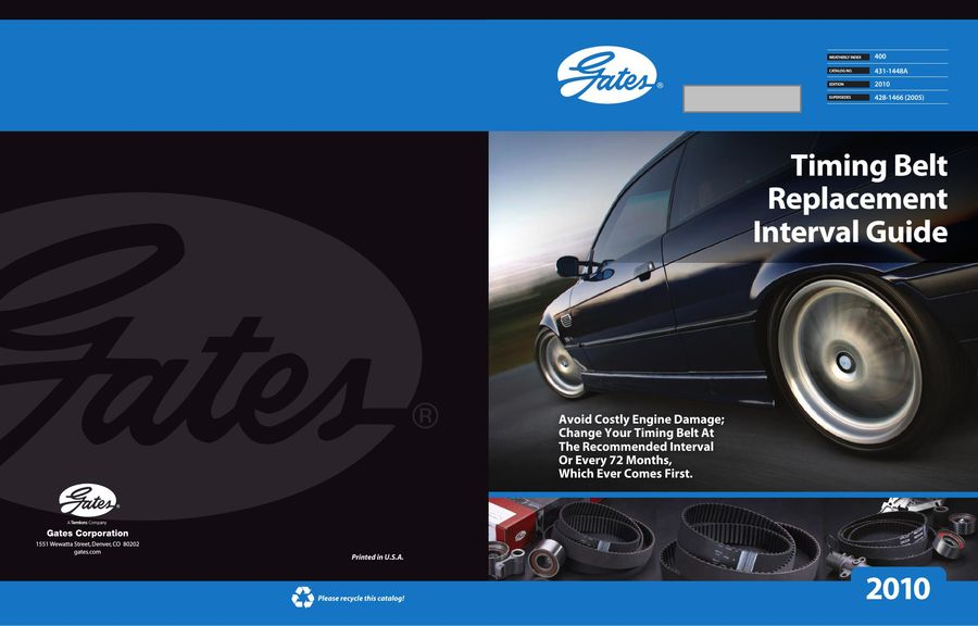 Timing Belt Replacement Interval Guide 2016 by Gates Corporation