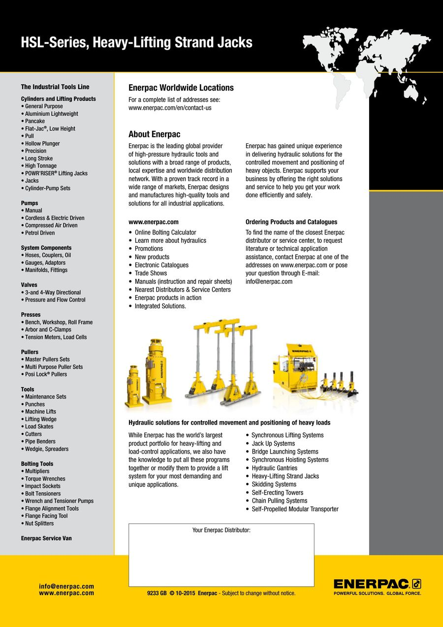 Page 7 Of Hsl Series Strand Jack System Technical 2015 Gb Enerpac Wiring Diagram P 8
