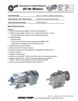 NORD Gearmotors – Speed Reducers 60Hz 2016