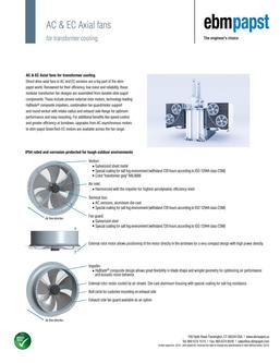 AC & EC Axial fans for transformer cooling