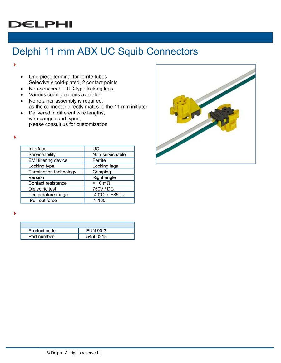 11 mm ABX UC Squib Connectors 2016 by Delphi Automotive