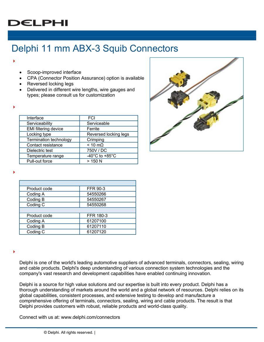 11 mm ABX-3 Squib Connectors 2016 by Delphi Automotive