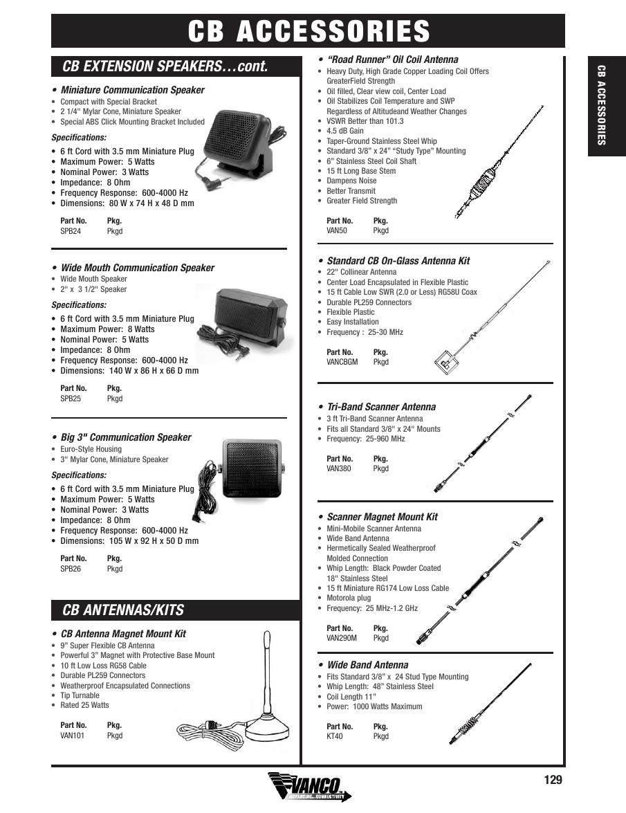 Page 129 of Vanco Full Line Catalog 2005 Volume 40