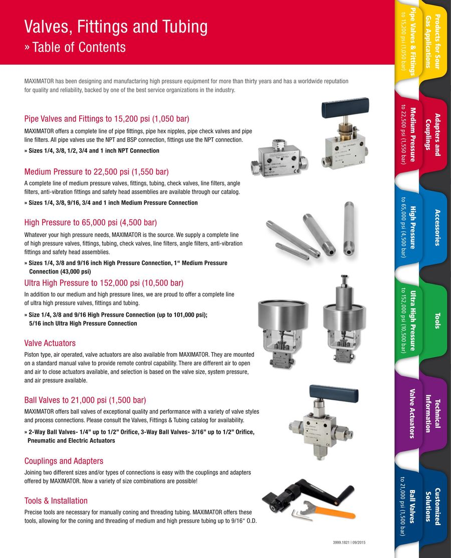 Valves Fittings Tubing 2015 by Maximator