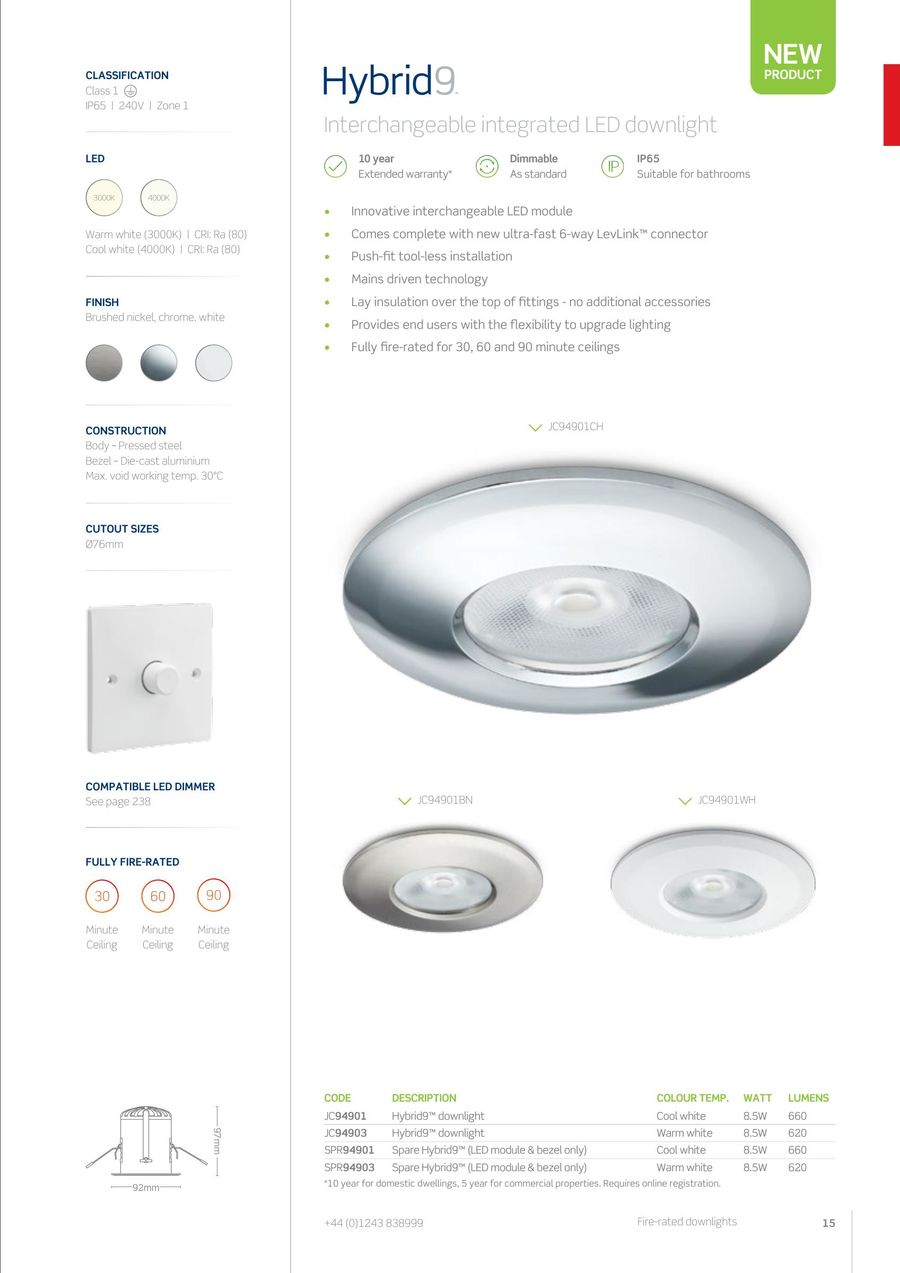 Fire Rated Downlights 2016 By Jcc Lighting Wiring Diagram 240v P 1 30