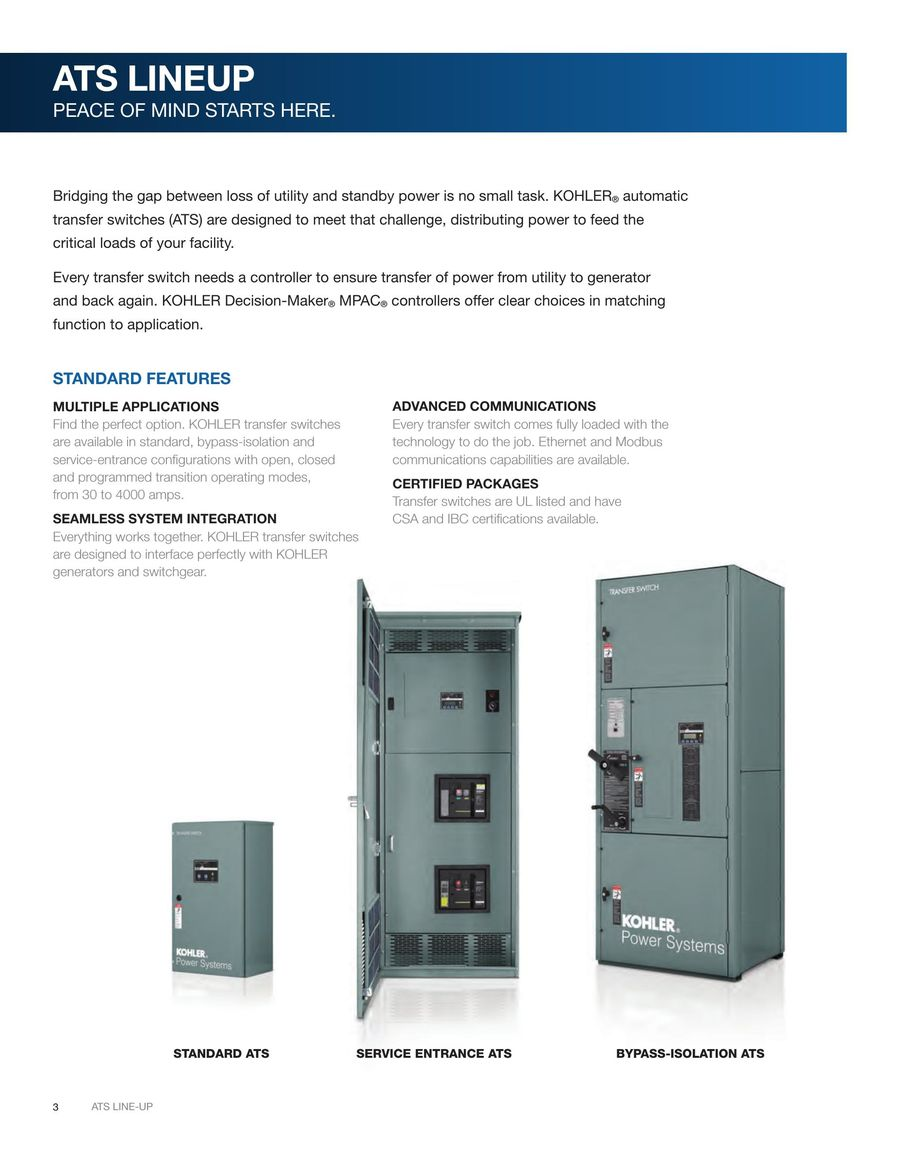 Automatic Transfer Switches 2017 By Kohler Co Switchgenerator Switch Product 24 Pages 01 03 Ads P 1