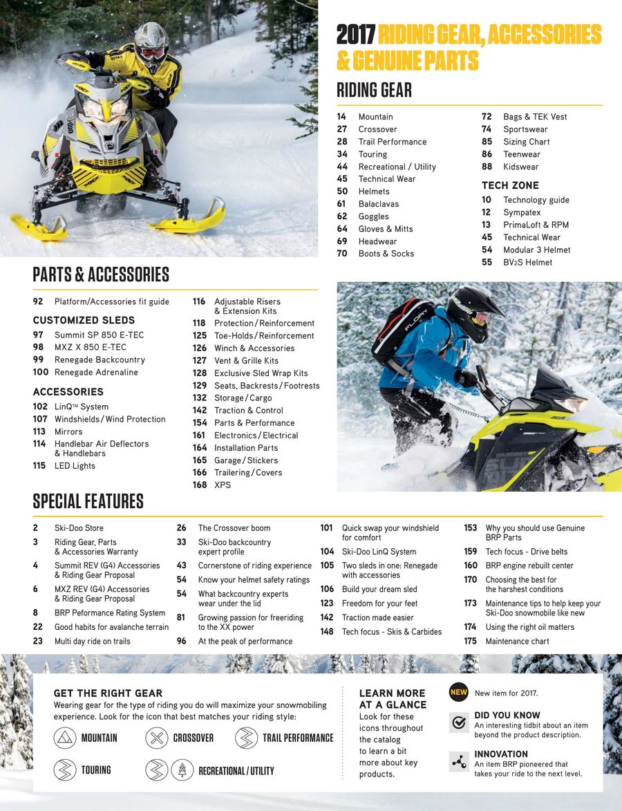 2017 Fall/Winter Ski-Doo Parts, Accessories & Riding Gear by