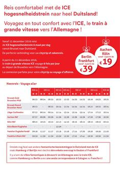 Belgium - Germay with ICE: Prices and Timetables December 2016 (French)