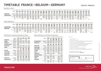Thalys Schedules and Services  Valid from 11/12/2016 to 01/04/2016