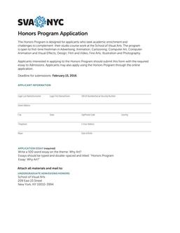 Honors Program Application 2016 by SVA NYC - School of
