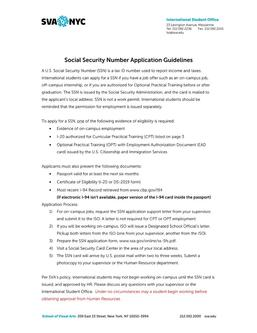 SSN Application Guidelines