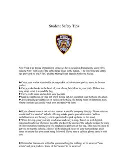 NYPD Student Safety Tips