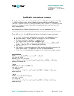 Banking Information for International Students