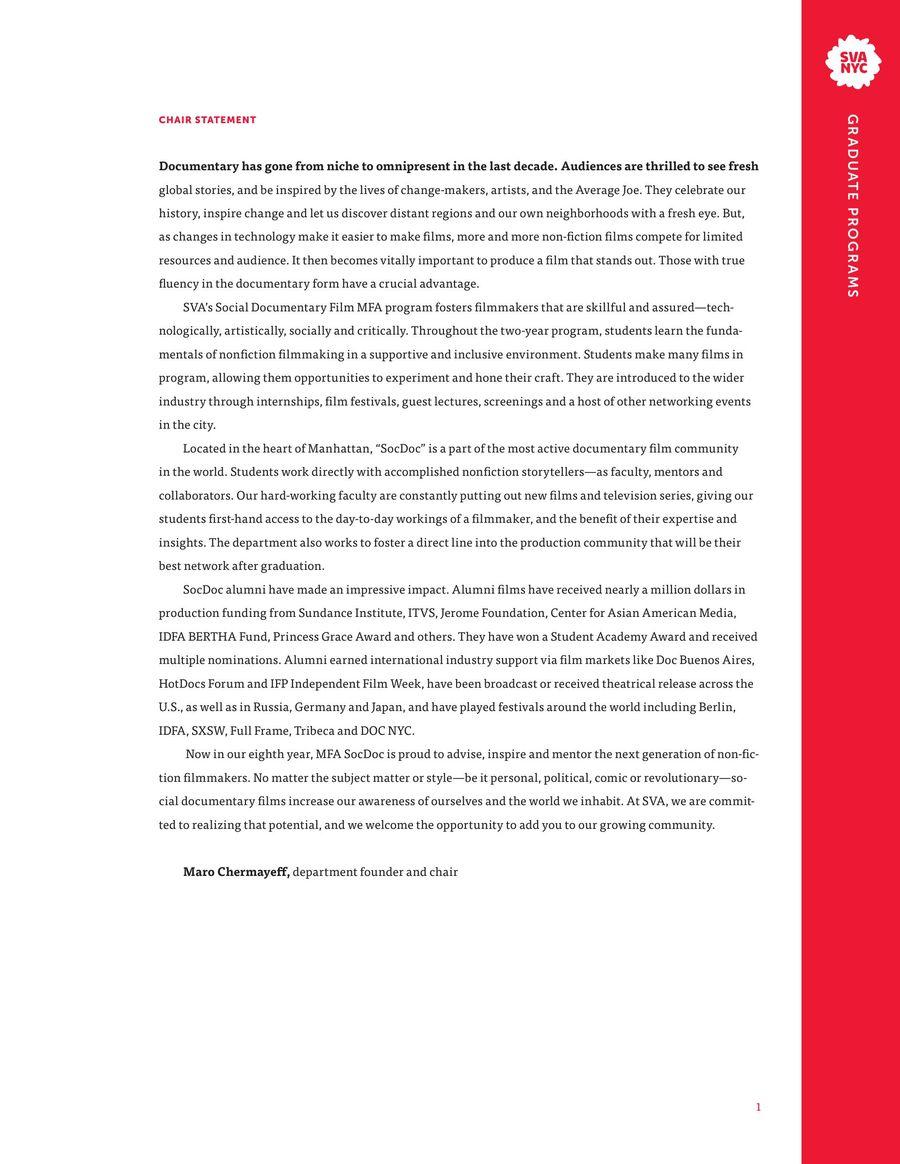 MFA Social Documentary Film Dept. Brochure 2017 by SVA NYC - School of Visual Arts