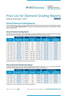 Price-List Diamond Grading Reports 2017 INDIA
