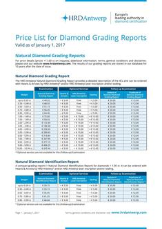 Price-List Diamond Grading Reports 2017