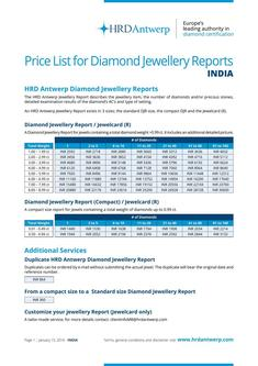 Price-list Jewellery Reports India