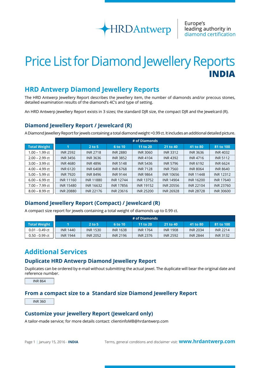 bc8fbaf71a1 Price-list Jewellery Reports India by HRD Antwerp