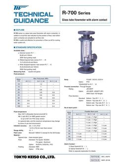 R-700 Series Glass tube flowmeter with alarm contact 2017