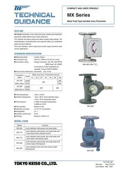 MX Series Metal Tube Flowmeter (250 mm type) 2017